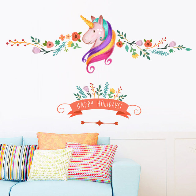 Colorful Unicorn Flowers Diy Wall Sticker For Kids Girls