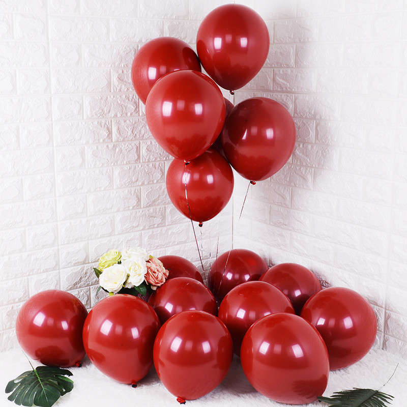 GIHOO 10PCS 20PCS 50PCS 5inch 12inch Ruby Red Glossy Metal Pearl Latex Balloons Chrome Metallic Color Wedding Party Decor