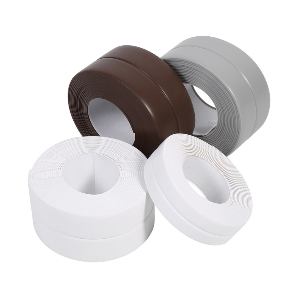 3.2M Flexible Sealing Strip Kitchen Bathroom Adhesive Sink Basin Edge Trim Accessory Waterproof White/Grey/Brown Optional