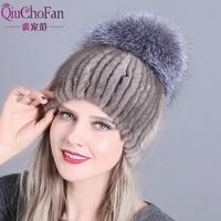 QiuChongFan 2018 new female fur hat woman winter ski cap warm protection ear mink and fox cap hair handmade free shipping