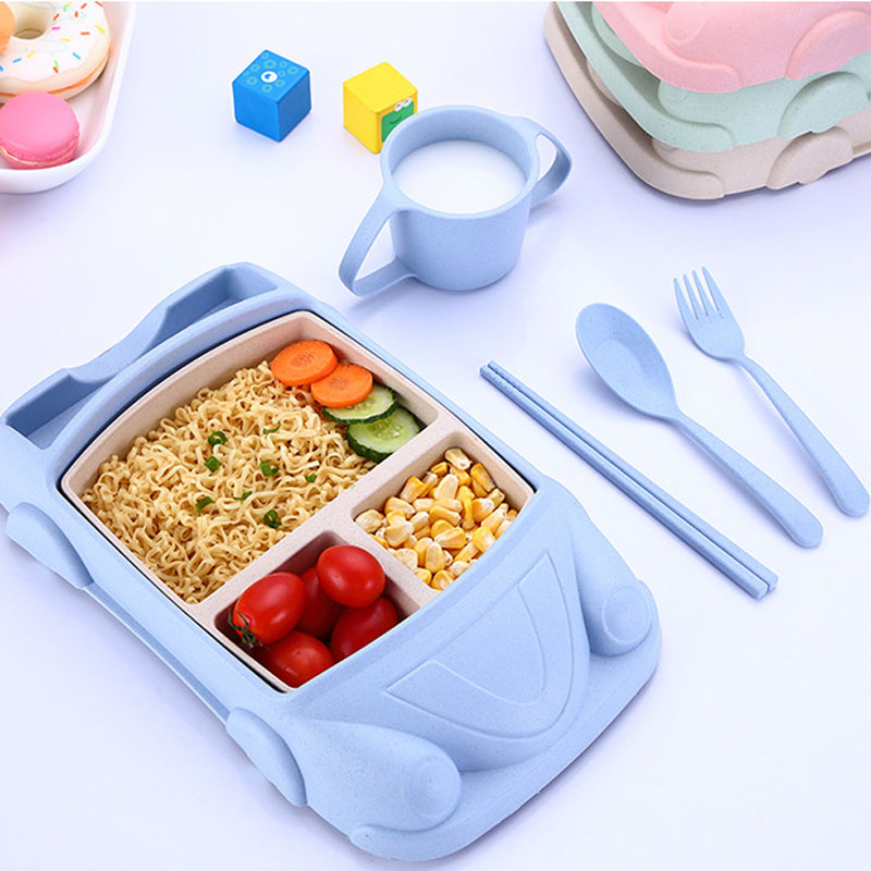 Baby Plates Bowl Bamboo Baby Eating Flatware Set W/ Spoon Blue Kitchenware Bowls & Plates Feeding