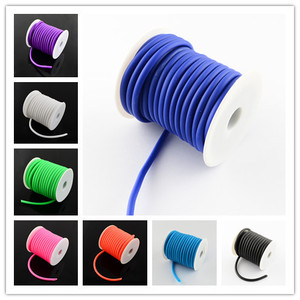 5mm Round Hollow Silicone Cord Jewelry Findings for Jewelry Making 10m/roll White/Black/Blue/Red/Pink/Green/Orange Colors(China)