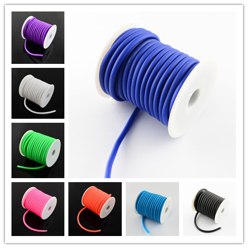 5mm Round Hollow Silicone Cord Jewelry Findings For Jewelry Making 10m/roll White/Black/Blue/Red/Pink/Green/Orange Colors