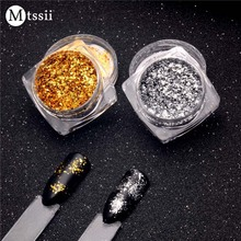 1 Box Gold Silver Glitter Aluminum Flakes Magic Mirror Effect Powders Sequins Nail Gel Polish Chrome Pigment Decorations