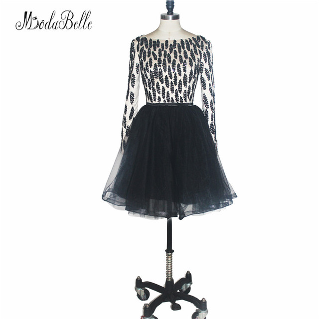 modabelle Girl Tulle Fluffy Beads Short Prom Dresses Black High ...