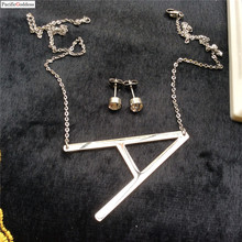 big letter Necklace necklace Chain letter Pendant Necklace Bohemian Choker Necklace and earrings jewelry set stainless steel fashion explosive jewelry metal thick chain necklace earrings set chain jewerlry necklace set choker necklace