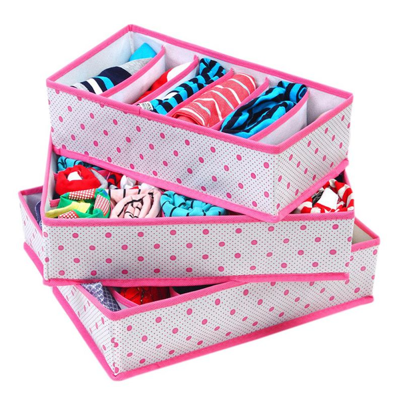 3Pcs/Set Useful Underwear Storage Boxes Sets Collapsible Non-Woven Organization Draw Divider Container For Ties Socks Shorts Bra