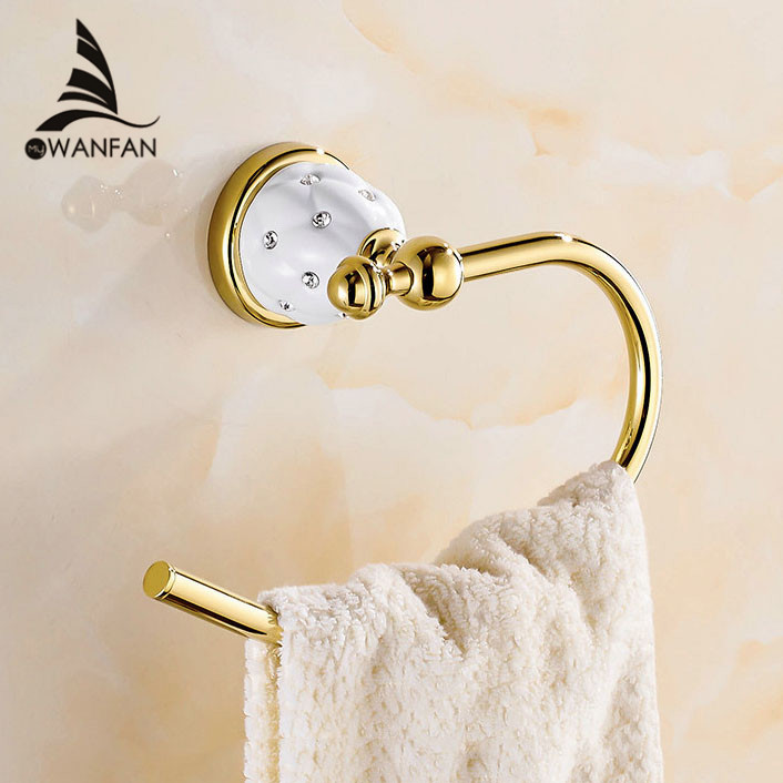 Towel Rings Solid Brass Gold Towel Holder Bath Shelf Towel
