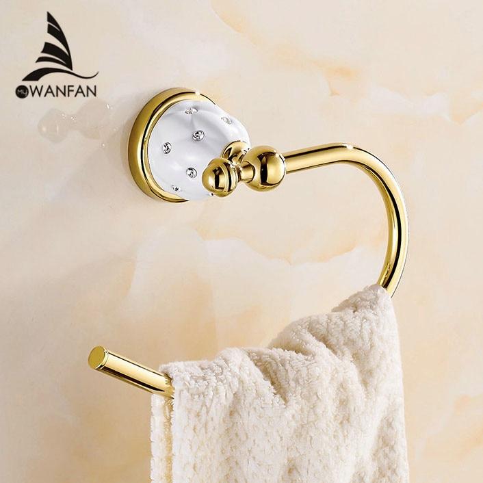 Towel Rings Solid Brass Gold Towel Holder Bath Shelf Towel Rack Hangers Luxury Bathroom <font><b>Accessories</b></font> Wall Mounted Towel Bar 5207