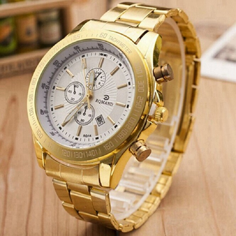 Men Fashion Watch Stainless Steel Watch Men Auto Date Quartz Watches Silver Mens Casual Business Watches