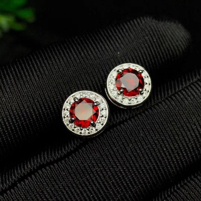 natural red garnet gemstone earring for girls girlfriend daughter women gift 925 stelring silver fine jewelry with box