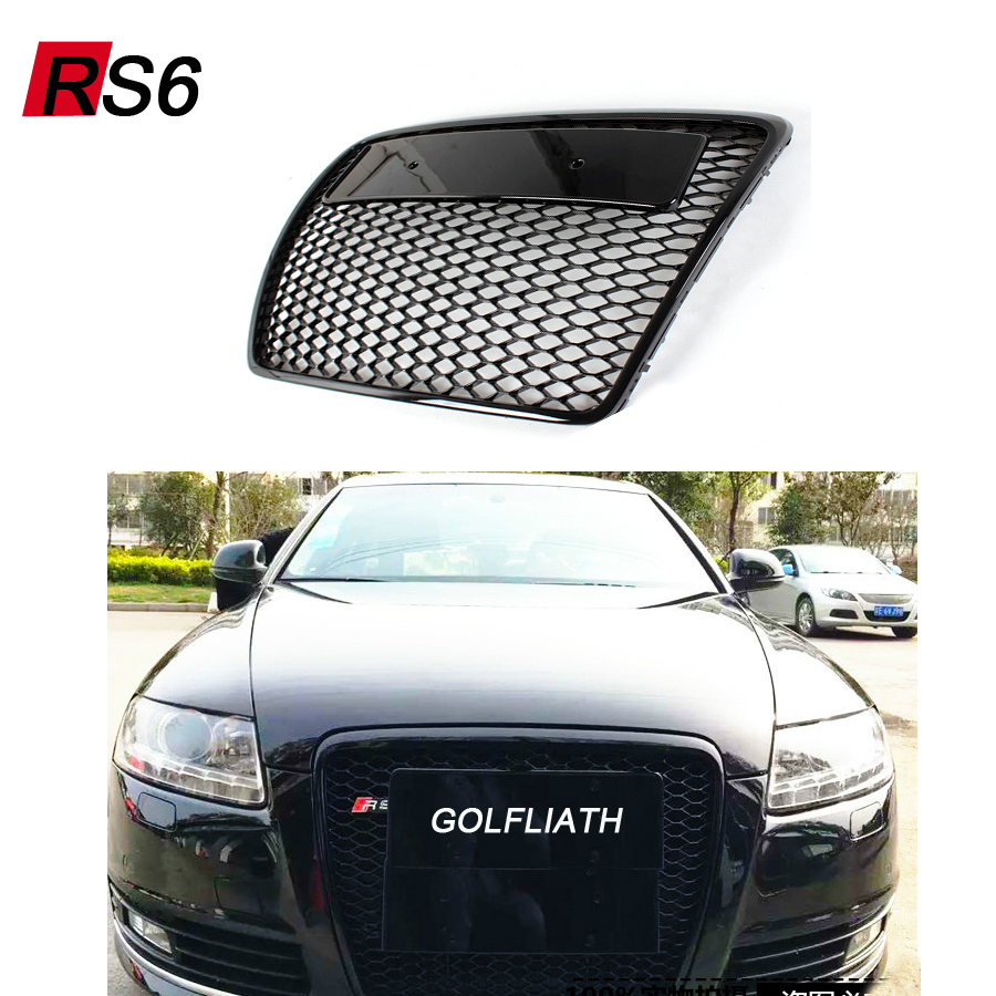 GOLFLIATH RS6 Style Black Painted ABS Honey Styling Front Mesh Grill Grille for Audi A6 S6 RS6 S-line 2009-2012 hotsale abs black painted 1 bar car grills front mesh grille with emblem for benz fits for 01 07 w203 c230 c240 c280