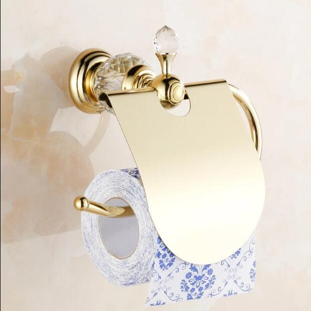 Luxury crystal brass gold paper box roll holder toilet gold paper holder tissue box Bathroom Accessories bath hardware polished gold solid brass toilet paper holder tissue box luxury high quality wall mounted roll holder toilet accessories sets t1