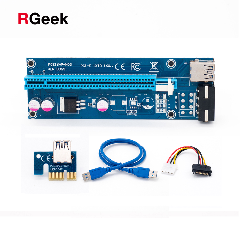 Blau 60 cm PCI-E extender PCI Express Riser Card 1x zu 16x USB 3.0 SATA auf 4Pin IDE Molex Strom für BTC Bergbau Miner