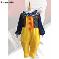 Movie Stephen King's It Pennywise Joker Cosplay Costumes Clown Jumpsuits Uniform Mask For Men Halloween Haunted House Clothing