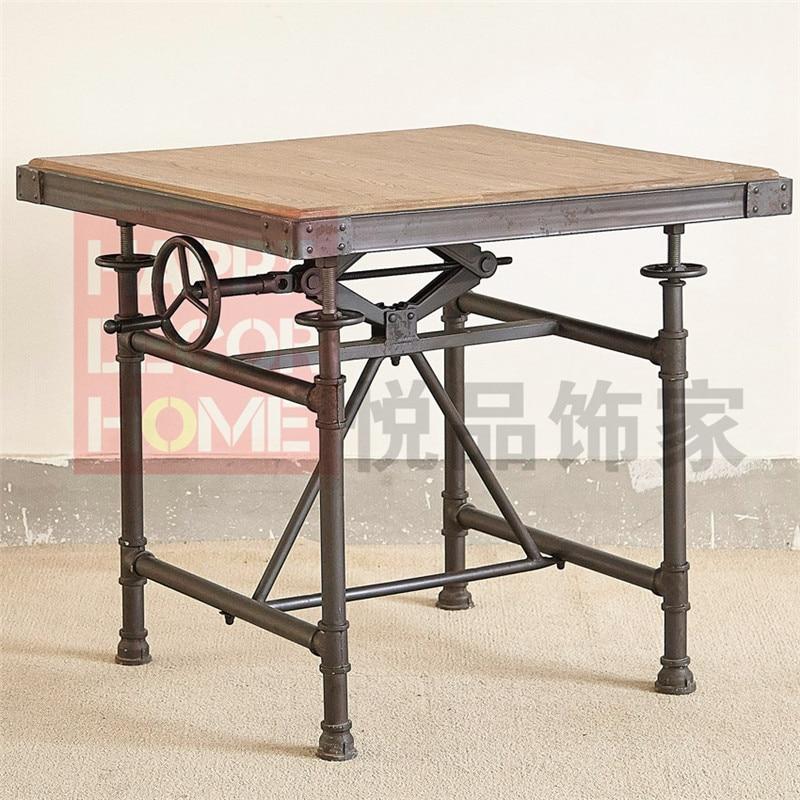 Viento industrial antigua de hierro forjado mesa de - Mesa de taller ...