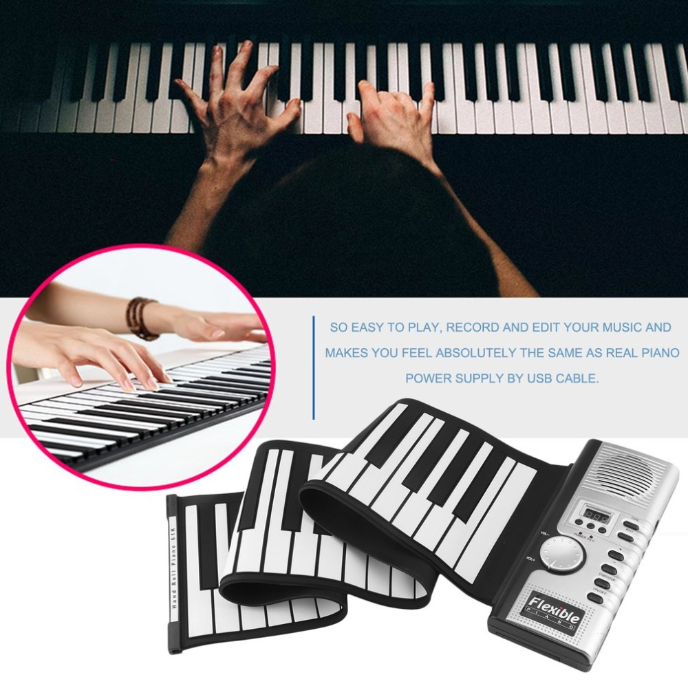 лучшая цена 61 Keys 128 Tones Electronic Piano Keyboard Portable Flexible Roll Up Digital Keyboard Piano Rechargeable Musical Instrument
