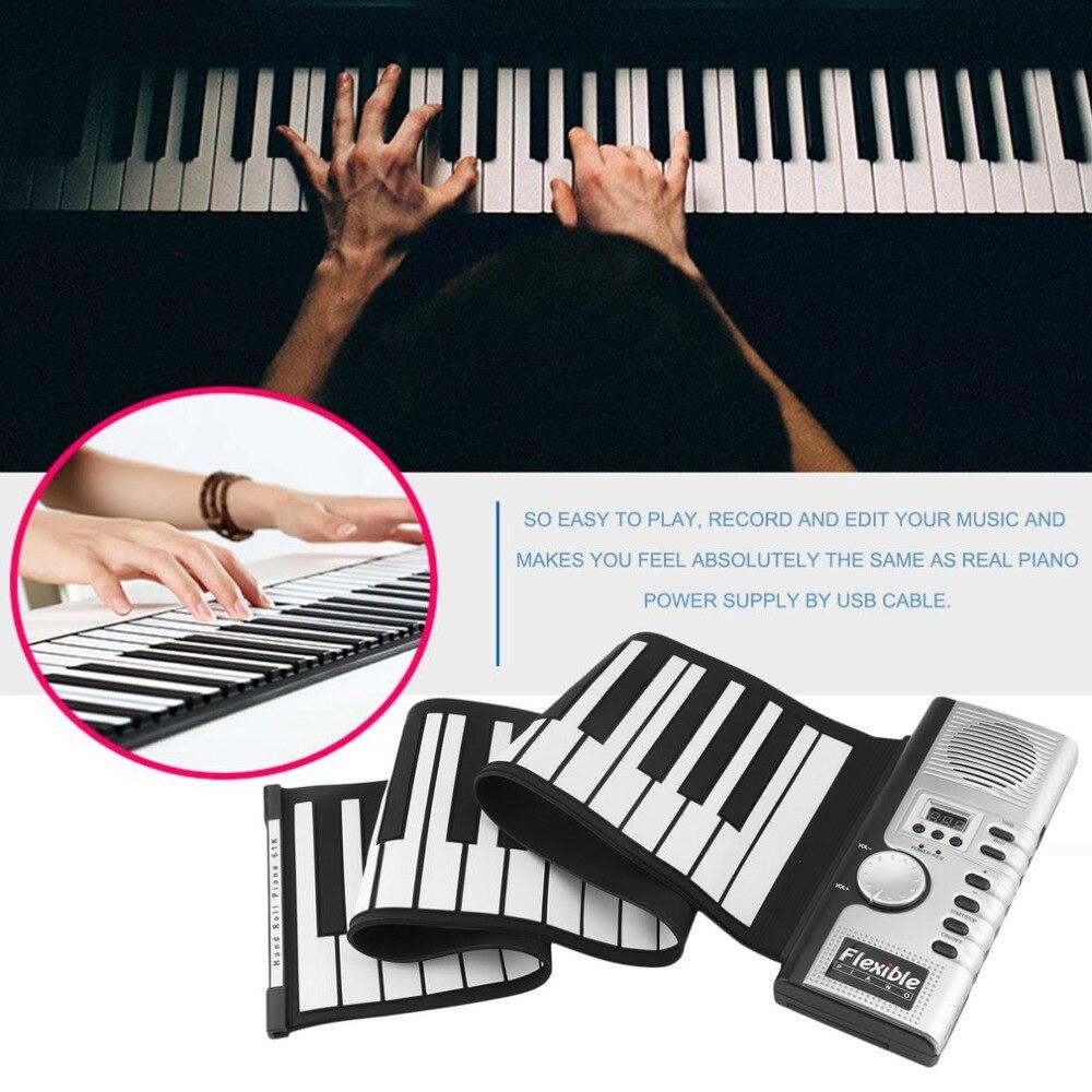 61 touches 128 Tons Piano Électronique Clavier Portable Flexible Roll Up Piano Clavier Numérique Rechargeable Instrument de musique