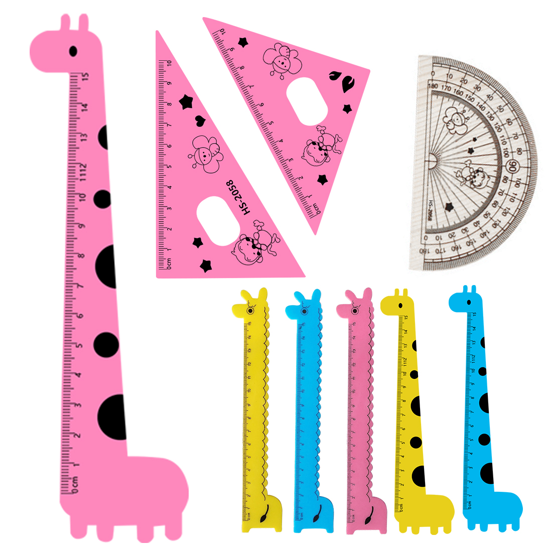 FangNymph Cute Cartoon Giraffe Pattern Student Set Ruler Student Kids Drafting Stencil Ruler Stationery 4PCS Pink Style Random