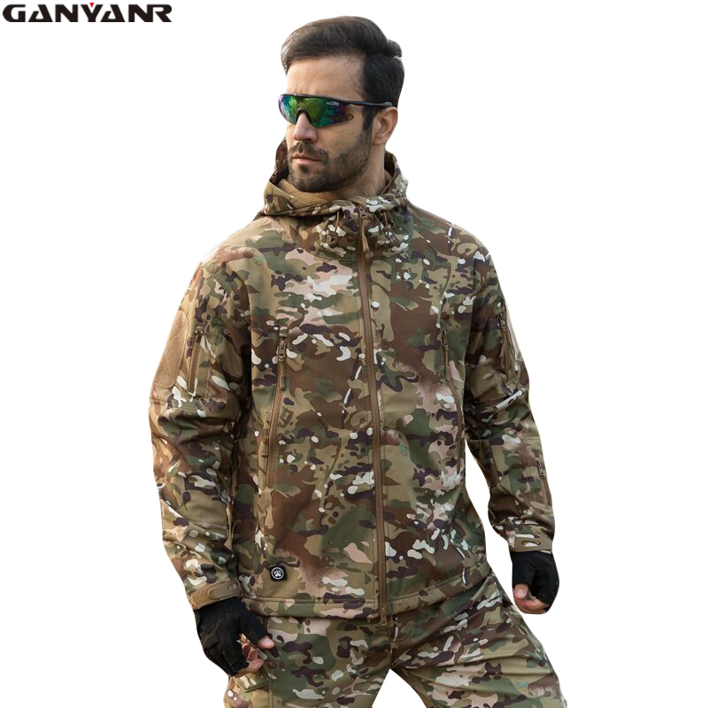 GANYANR Brand Winter Outdoor Softshell Jacket Men Ski Waterproof Fleece Jacket Rain Hiking Hunting Clothing Sports Windbreakers