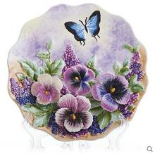 Flowers series decorative wall dishes porcelain plates ceramic home decro collectible figurine