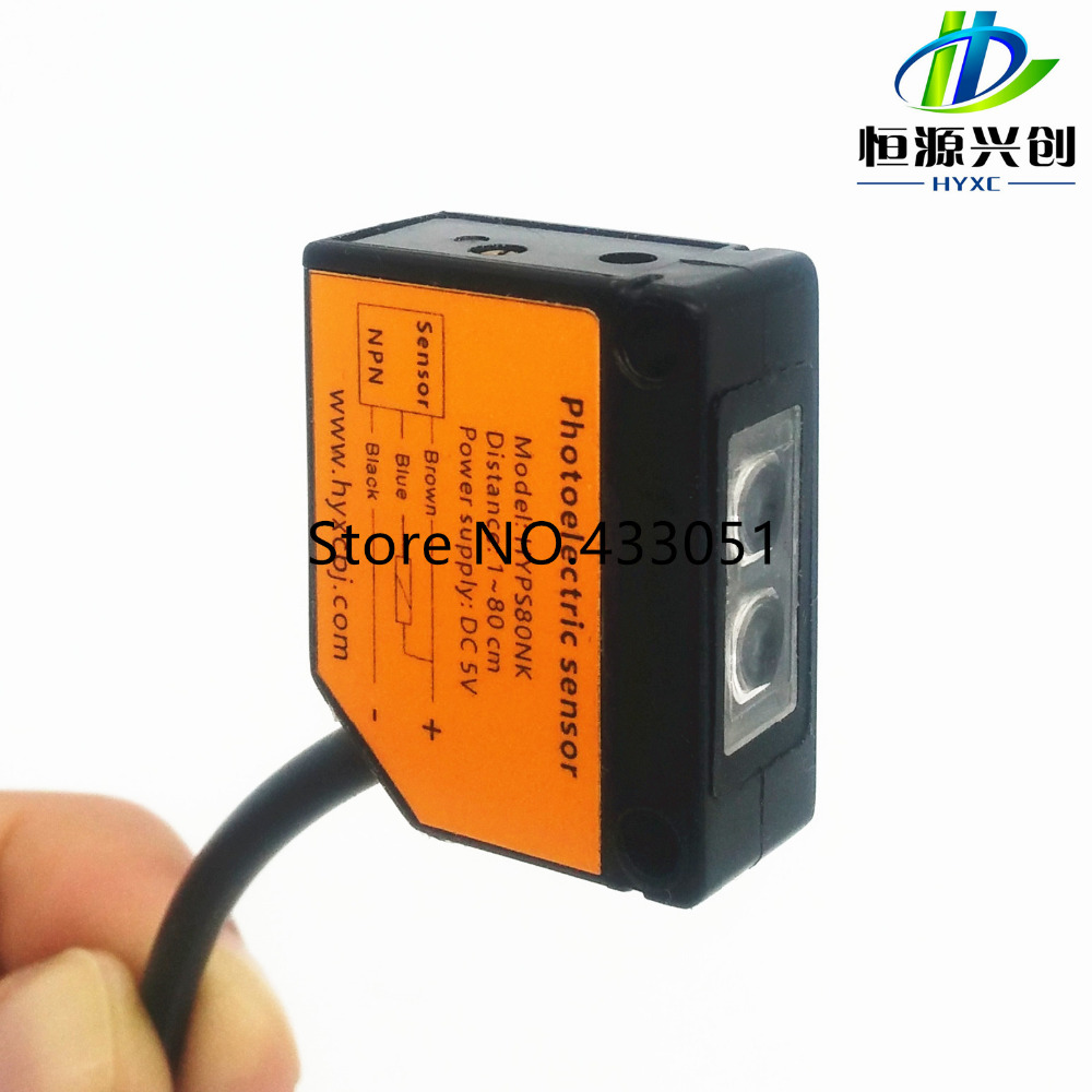 Free shipping,Photoelectric switch,photoelectric sensor,Detection distance: 1~80cm,5V DC supply,type NPN normally open switches free shipping u shaped rectification infrared sensor 30mm width groove type photoelectric photo switch npn