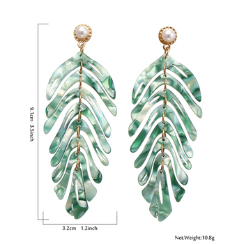 Yhpup Personality Brand Leaf Acrylic Plant ZA Dangle Earrings Pearl boucle d'oreille for Women Party Jewelry Gift 1