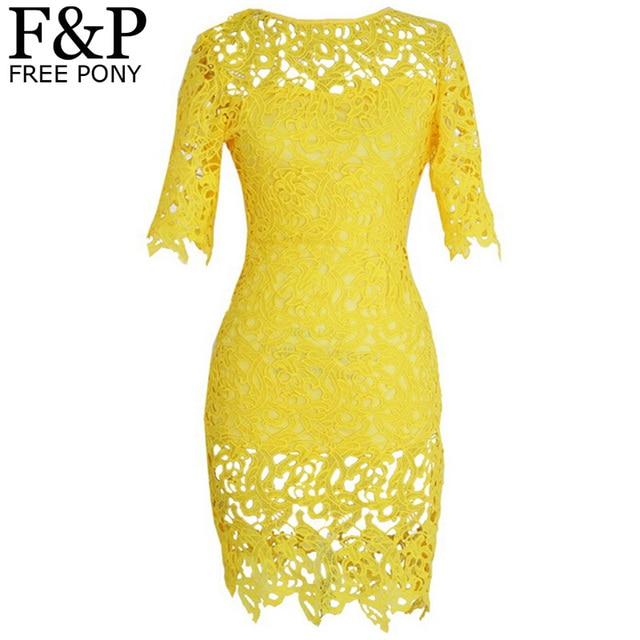 680b6c242fc Plus Size Brazil Yellow Crochet Lace Bandage Bodycon Dress Women s Vintage  Floral Boho Woman Midi Evening Party Pencil Dress