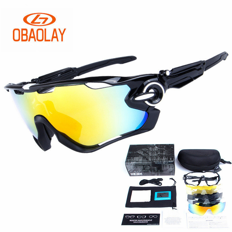 OBAOLAY Polarized Cycling Glasses 5Group Lens Men and Women Unise Mountain Bike Goggles Sport Bicycle Sunglasses Fishing Glasses new men and women polarized sunglasses fashion toad
