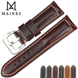 Image 1 - MAIKES più venduti accessori per orologi cinturini Italiano in pelle vintage della vigilanza della fascia della cinghia di cuoio per Panerai braccialetto di vigilanza