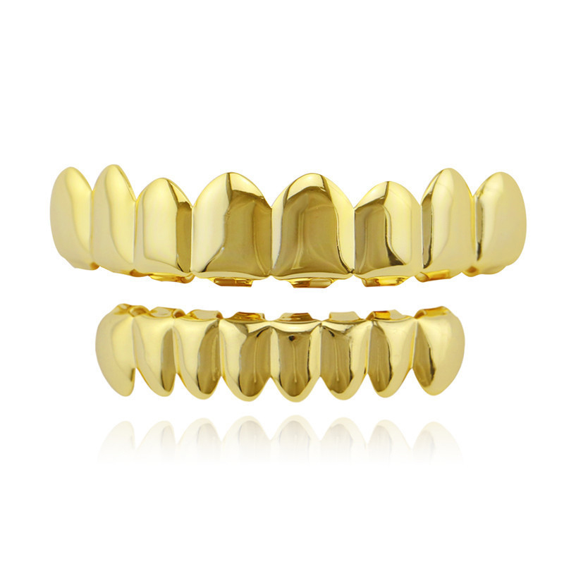 HIP HOP Gold Teeth Grillz Top & Bottom 8 Teeth Grills Dental Cosplay Vampire Tooth Caps Rapper Party Jewelry Gift XHYT1007