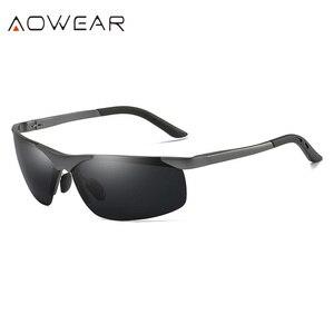 Image 2 - AOWEAR lunettes de soleil polarisées pour hommes, HD, Anti éblouissement, monture en aluminium, pour la conduite, la pêche, sport, plein air