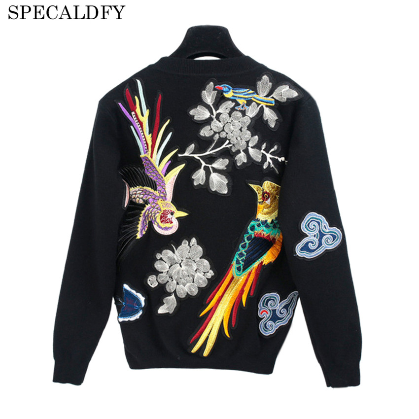 Runway Designer Luxury Brand Sweater Women Long Sleeve Birds Animal Embroidery Knitted Sweaters And Pullovers Black