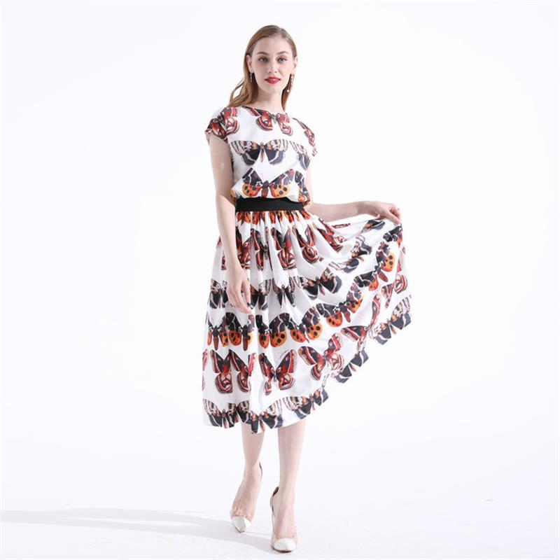 Haute Papillon Top Deux Ensemble Vêtements pièce Ensembles 2018 Piste Femmes De Jupe Qualité Imprimé Dx0831 bvf6IYy7gm