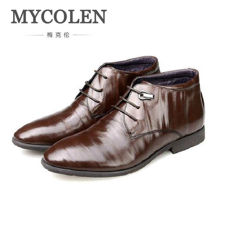 MYCOLEN Men Boots Leather Men Shoes Casual Lace Up Brown Ankle Boots Winter Fashion British business Dress Boots Cowboy