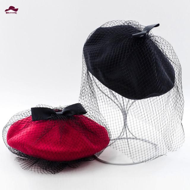 2015 New Hot Winter Bowknot Wool Womens Hat Berets Mesh Female Cap Handmade  Fedoras Hats for Women French Artist Cap Ski Hats a6afd1ade82