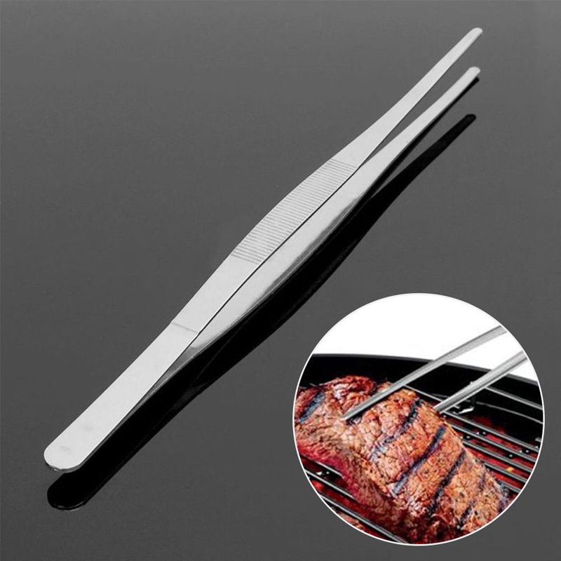 Long Barbecue Food Tong Stainless Steel Straight Tweezer Toothed Tweezer Home Medical Garden Kitchen BBQ Tool 8 Sizes(China)