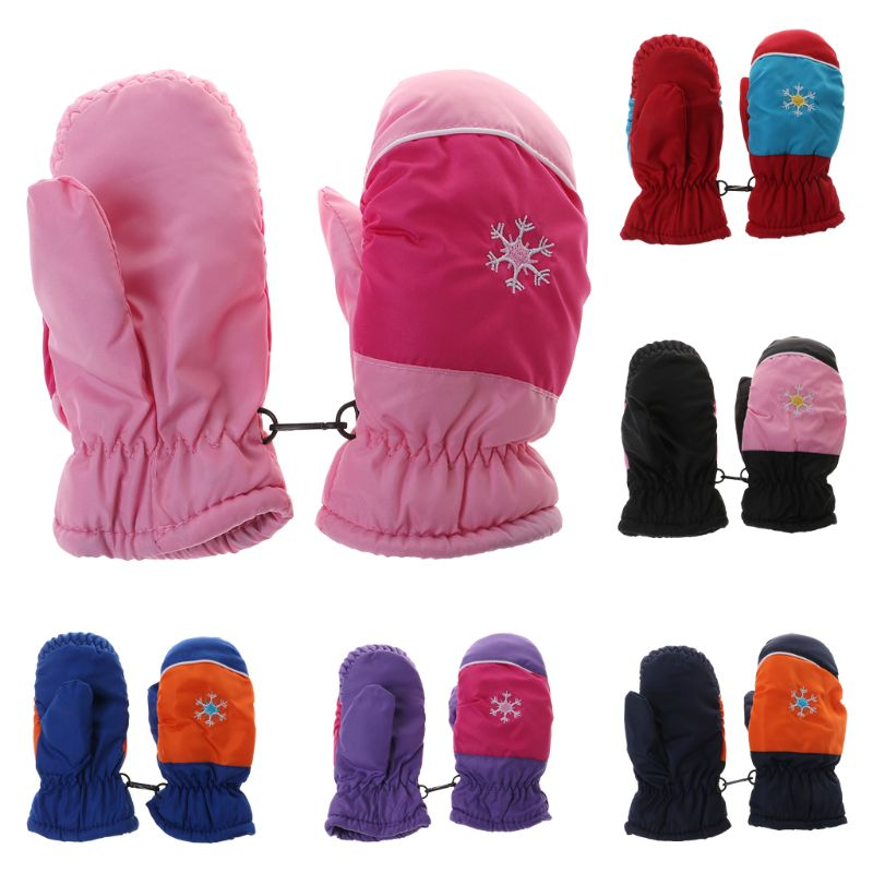 Skiing Gloves Kids Ski Outdoor Sports Children Mitten Waterproof Windproof Mittens Thick Fleece Warm Winter Boys Girls Clothing