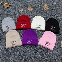 Зимняя вязаная шапка бини, шапки для мужчин и женщин, теплые лыжные шапки с вышитыми буквами в стиле хип-хоп, вязаные акриловые шапочки