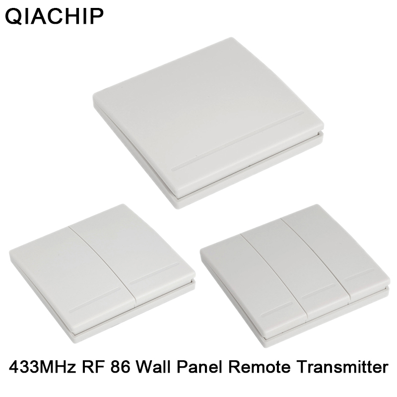 QIACHIP 433Mhz 86 Wall Panel Wireless Remote Control Switch Transmitter 1 2 3 Button RF Receiver For Bedroom Ceiling Light Lamp