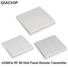 Qiachip 433 mhz 86 벽 패널 무선 원격 제어 스위치 송신기 1 2 3 버튼 rf 수신기 침실 천장 조명 램프