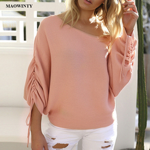 Batwing Sleeve Casual Loose Sweater Tops Pullover Fashion Autumn Off Shoulder Knitted Sweater Solid Knitwear Jumper laser cut solid drop shoulder jumper