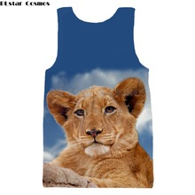 PLstar Cosmos Brand clothing 2018 summer Fashion 3d Vest animal Cute lion Print Hipster Tank tops Men Women Casual Cool vest