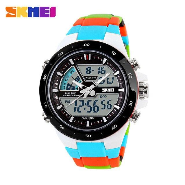 2016 Для женщин Спортивные часы Водонепроницаемый модные Повседневное кварцевые часы цифровой аналоговый Военная Униформа Многофункциональный Для женщин наручные Часы