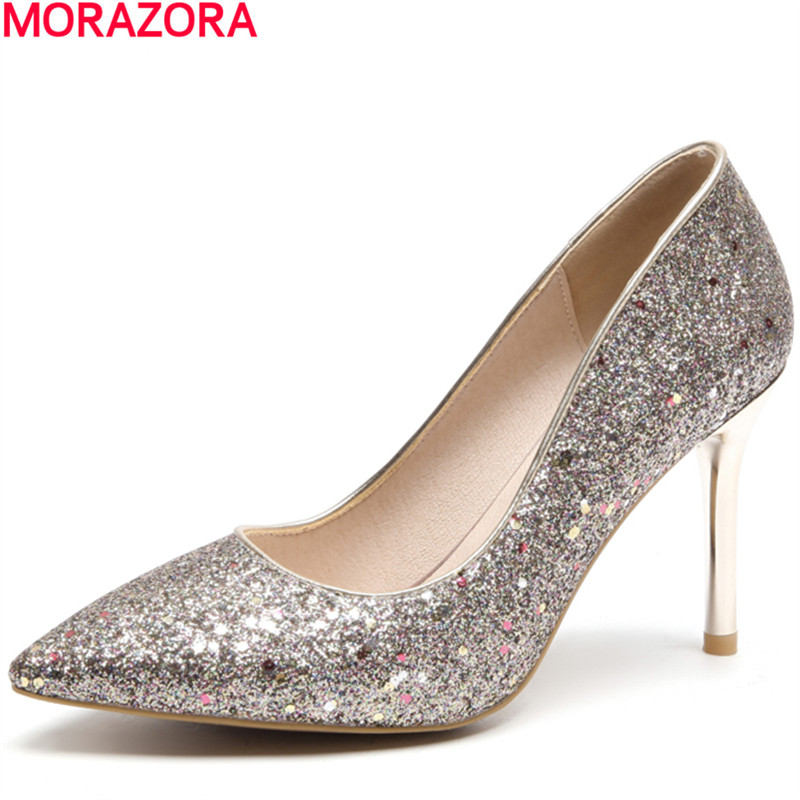 MORAZORA spring fashion glitter Shallow mouth pointed toe single shoes thin high heels party shoes women pumps big size 34-46 genuine large size single toe head high heels shallow mouth thin heel velvet shoes woman star with w824