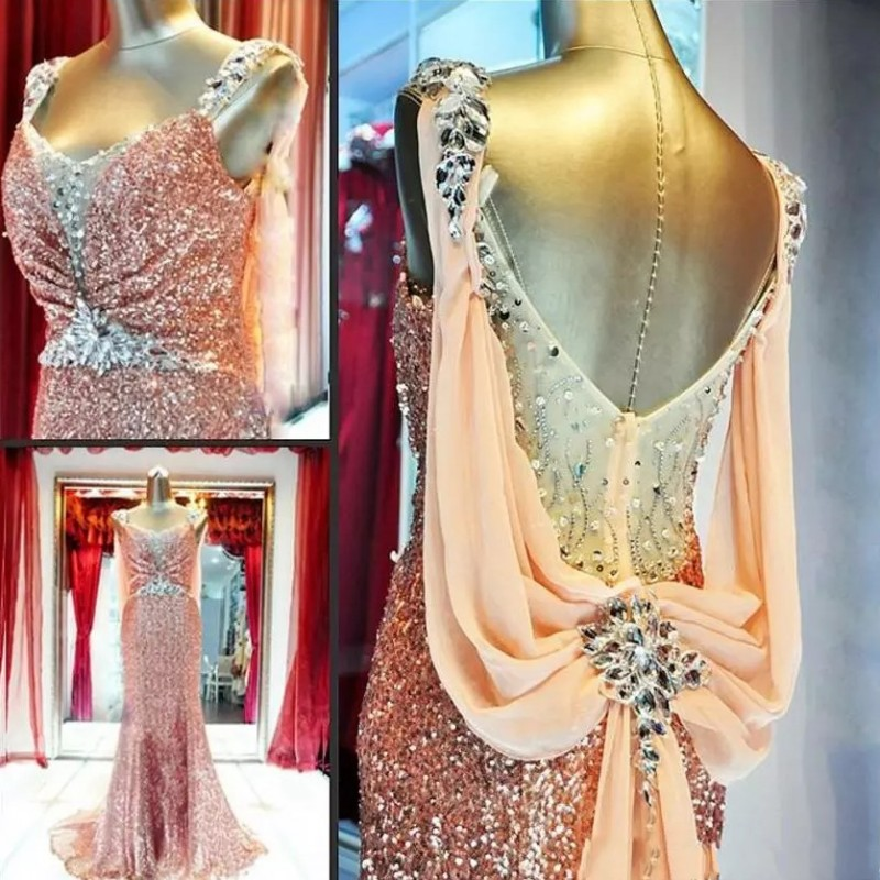 Elegant Party Mermaid   Evening     Dresses   2019 Dubai Kaftan Straps Crystal Sequined Glitter Fabric Prom Gowns for Women Wear