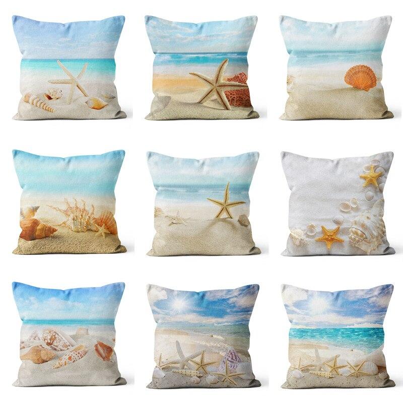 Средиземное море пляж Стиль Морская звезда Shell наволочки декоративные морские бросок наволочка 45x45 см Home Decor
