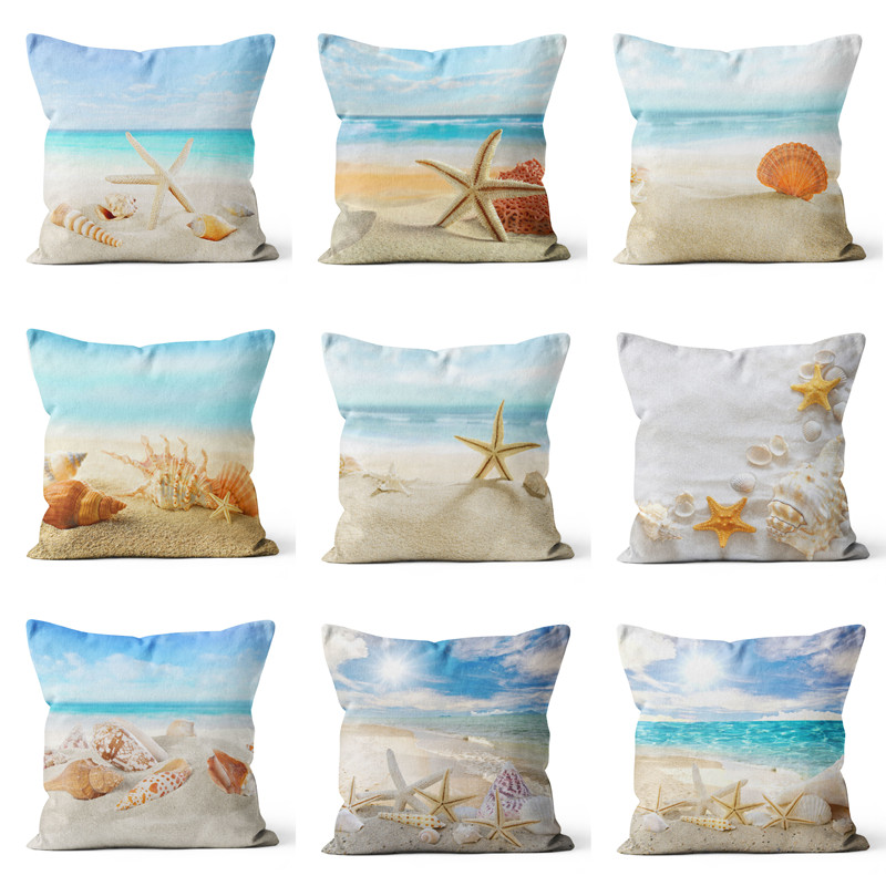 Mediterranean Sea Beach Style Starfish Shell Cushion Covers Pillowcase Decorative Marine Throw Pillow Cover 45x45cm Home Decor
