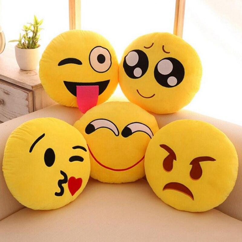 Cute Round Yellow Emoji Pillow & Cushion Grin Cold Sweat Yummy Heart Eye Unhappy Emoji Pillow For Home Seat Stuffed Gift Toys