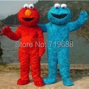 elmo mascot costumes for sale Long Fur Elmo Mascot Costume Character Costume Cartoon Costume red Elmo mascot Free Shipping